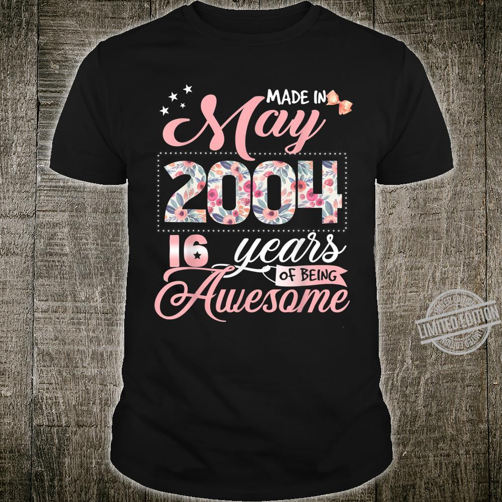 16th Birthday Floral for Girl Born in May 2004 Shirt