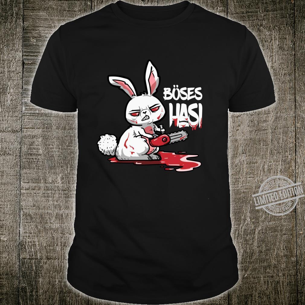 Lustiges Horror Hasen Geschenk Böses Hasi Mit Kettensäge Shirt