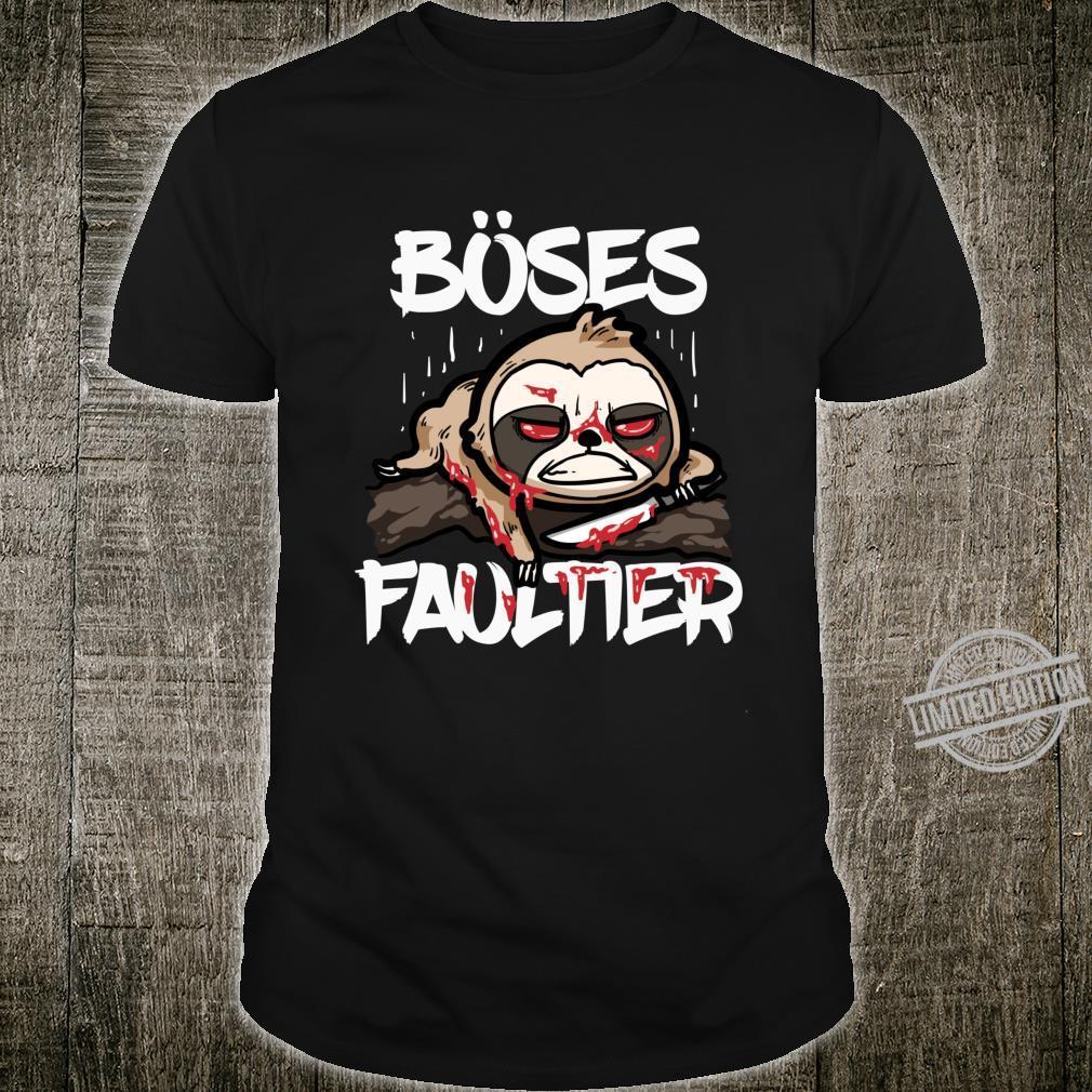 Lustiges Horror Sloth Geschenk Böses Faultier Shirt